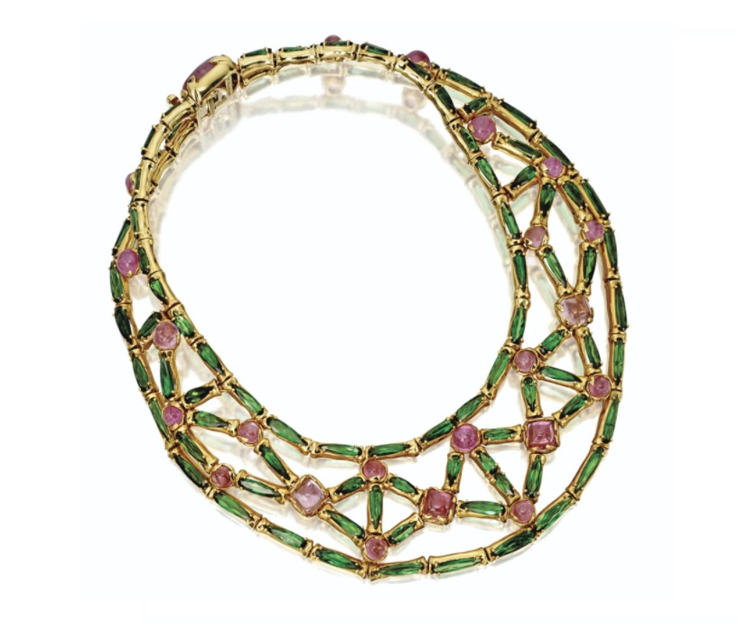 Green and pink tourmaline collar necklace, Tony Duquette