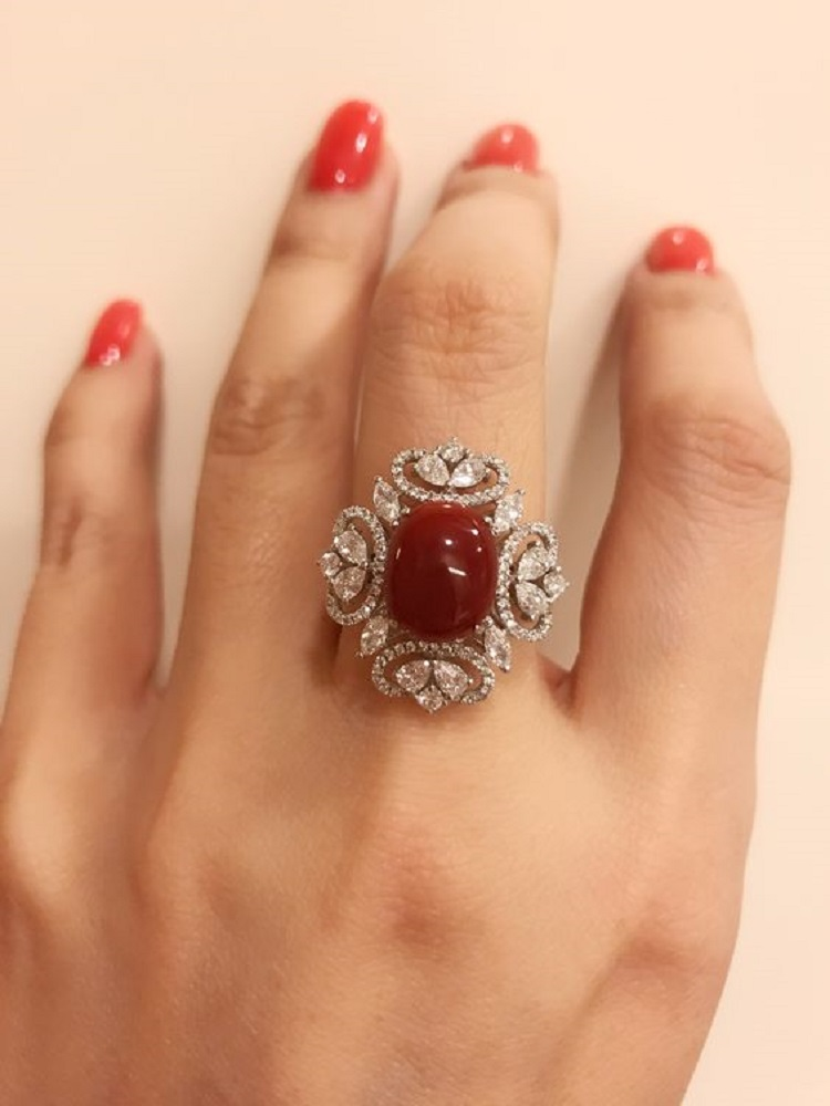 Red Coral Diamond Ring