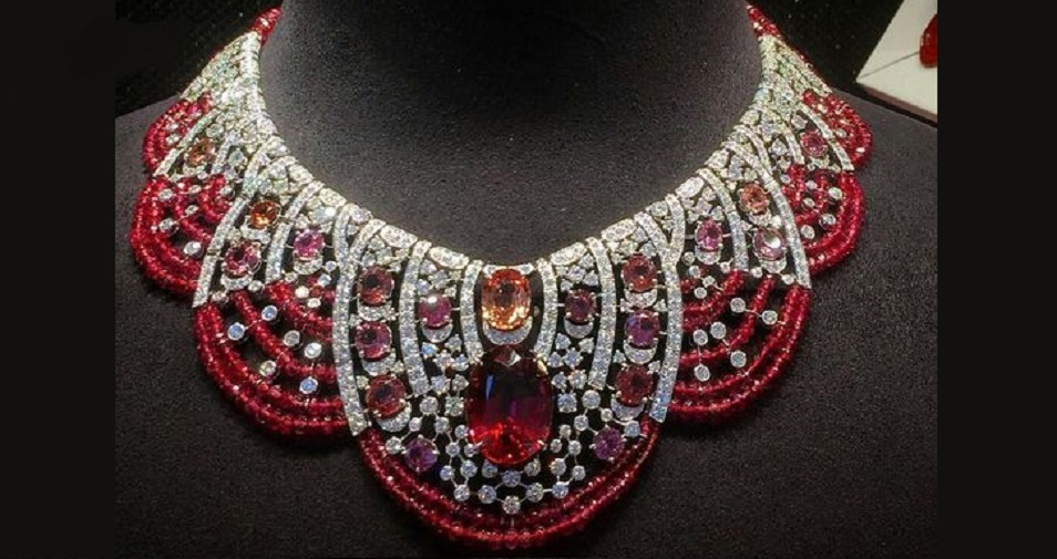 Gorgeous Ruby, Rubellite, Red and Pink Diamond Necklace by Cartier
