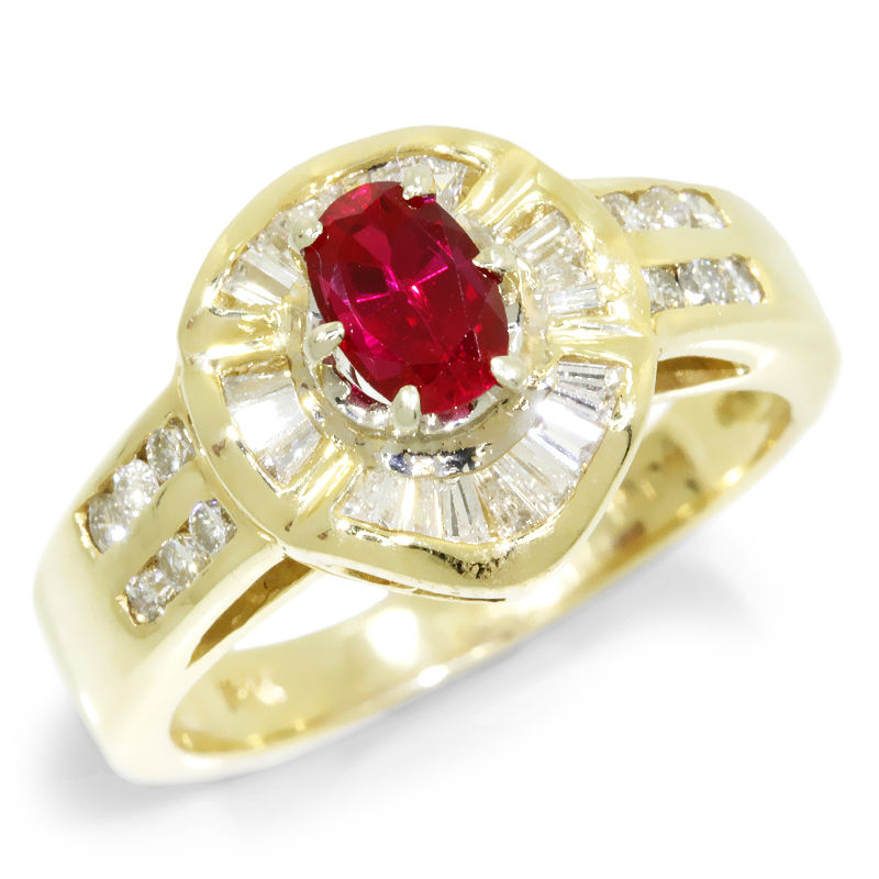 Estate 1.21ctw Oval Ruby & Diamond Halo Ballerina Ring 14kt Yellow Gold