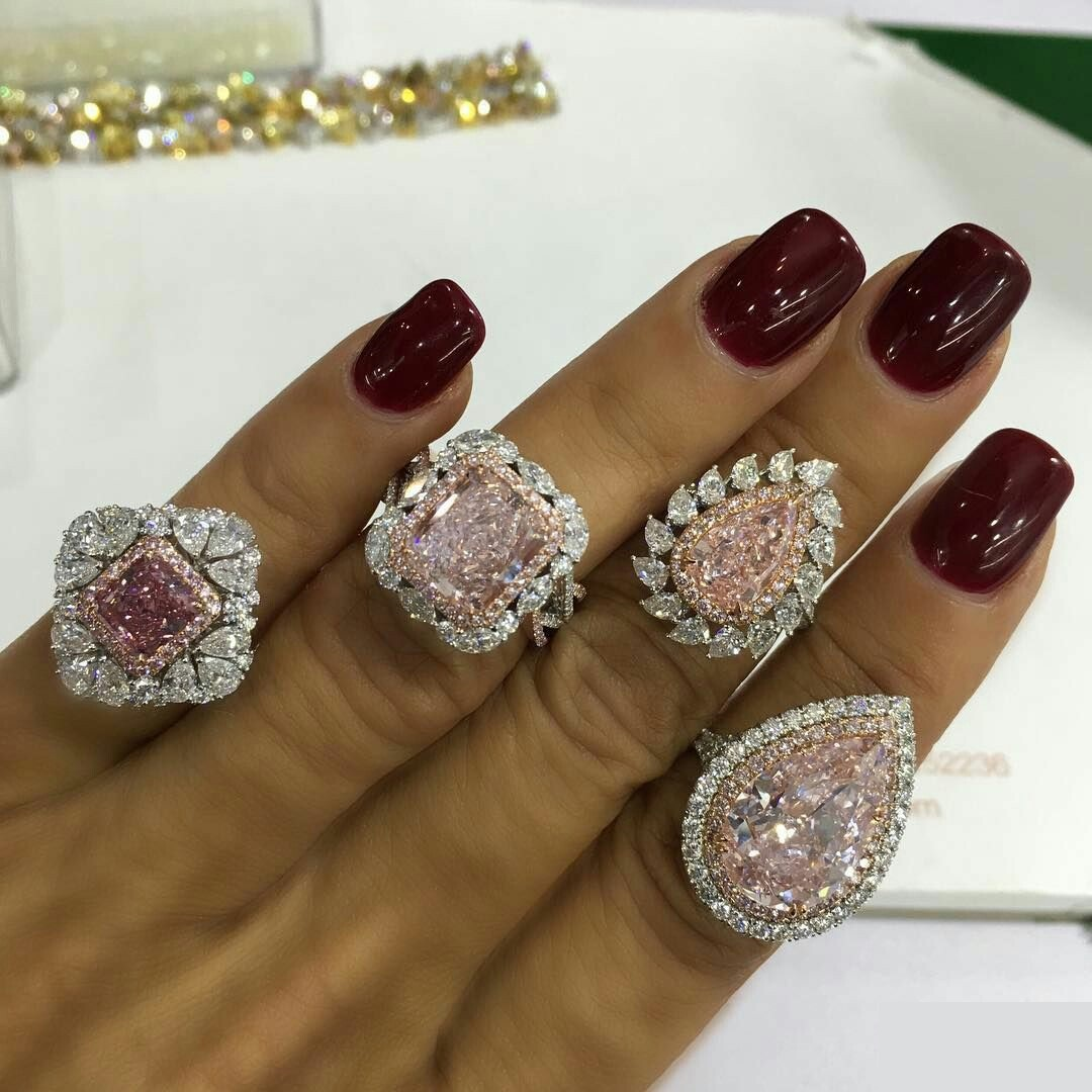 Pink and White Diamond Rings