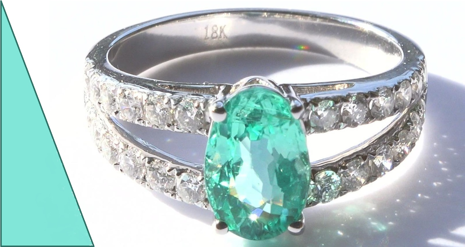 GIA Natural Blue Green Paraiba Tourmaline Diamond 18k White Gold Ring 2.61 TCW