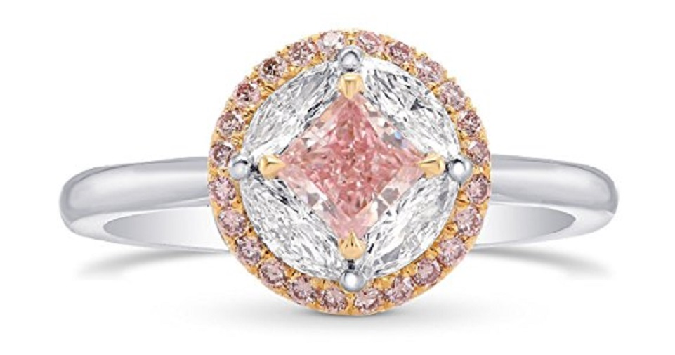 0.88Cts Pink Diamond Engagement Extraordinary Ring Set in Platinum GIA Hofer
