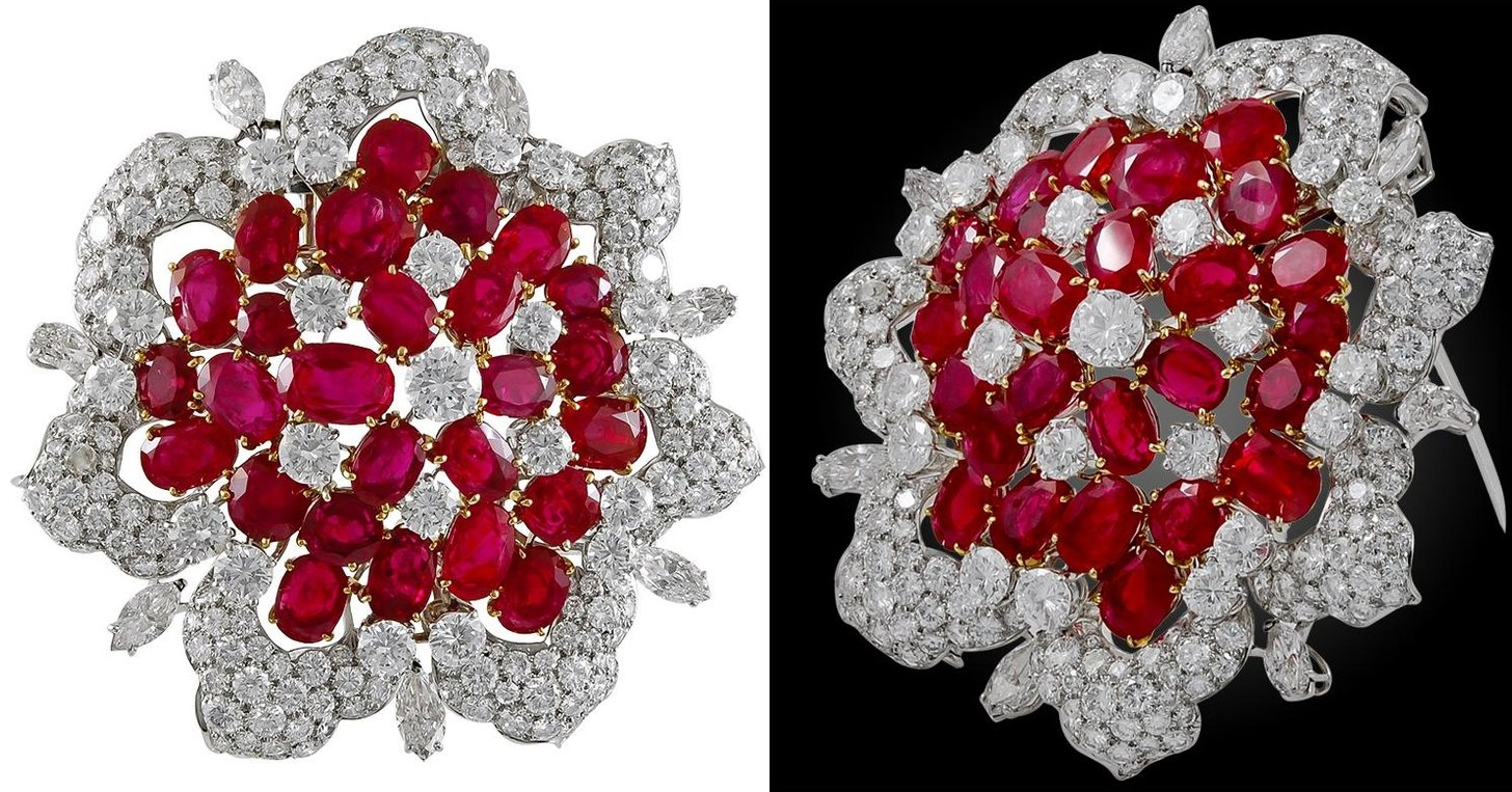 Bulgari Diamond and Burma Rubies Brooch